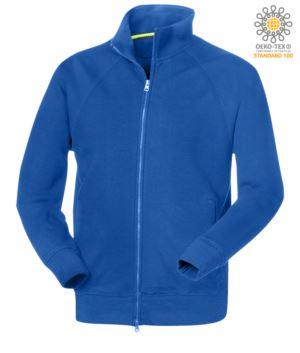 Herren Langarm Sweatshirt mit langem Reissverschluss Koenigsblau Farbe
