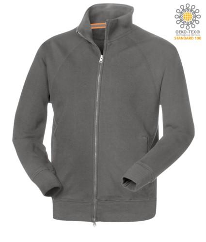 Herren Langarm Sweatshirt mit langem Reissverschluss grau Farbe
