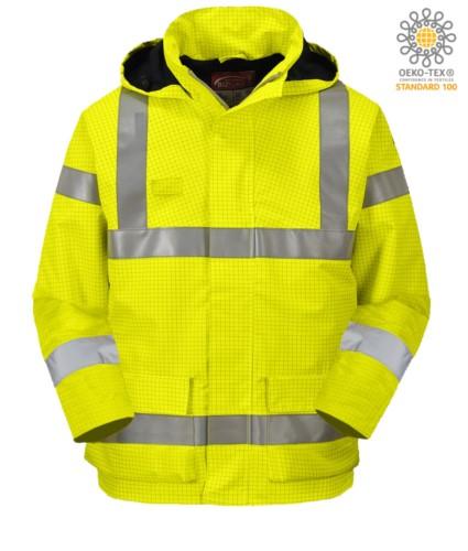 Feuerfeste Jacke, gut sichtbar antistatisch, Taschen, Doppelband an Taille und Aermeln, verdeckte Kapuze, Innenpolsterung, zertifiziert nach EN 343:2008, UNI EN 20471:2013, EN 1149-5, EN 13034, UNI EN ISO 14116:2008, Farbe gelb
