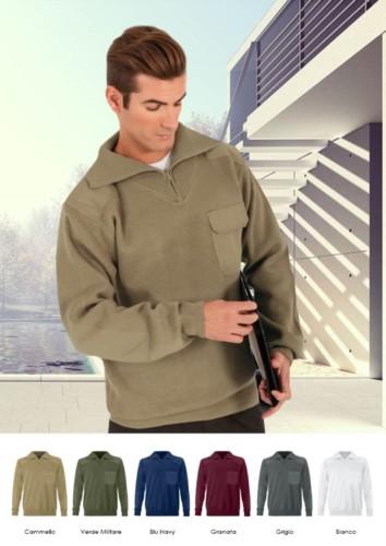 Herren Pullover mit hohem Ausschnitt, kurzer Reissverschluss, Schulter und Ellbogenpatches, Pattentasche, 100% Acrylgewebe