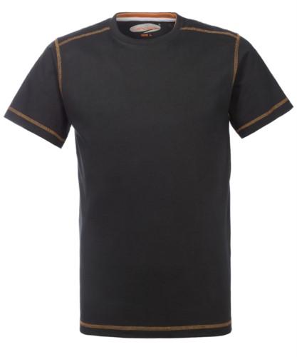 Arbeitshemd mit Rundhalsausschnitt und kontrastierender Naht, Farbe schwarz