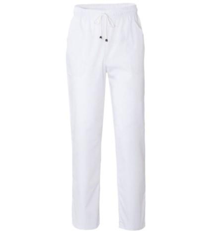 Hose mit kontrastierenden zweifarbigen Details an den Taschen. Farbe: weiss
