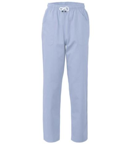 Hose mit kontrastierenden zweifarbigen Details an den Taschen. Farbe: Blau/Grau