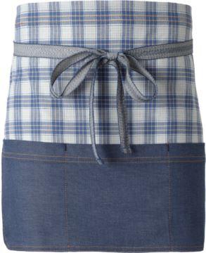 Kochschuerze, Frontverschluss an der Taille mit Schleife, Farbe blau kariert