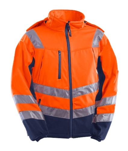 Warnschutzjacke mit Hemdkragen, Brusttaschen, Doppelband an Taille und Ärmeln, zertifiziert nach EN 20471, Farbe orange