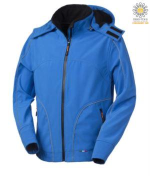 Softshell Jacke mit Kapuze, Reissverschluss, regendicht, reflektierende Profile auf der Vorderseite, Rueckseite und entlang der Aermel. Farbe: Koenigsblau