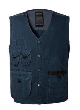 Sommer Arbeitsweste Multi Taschen blau Farbe 100% Baumwolle