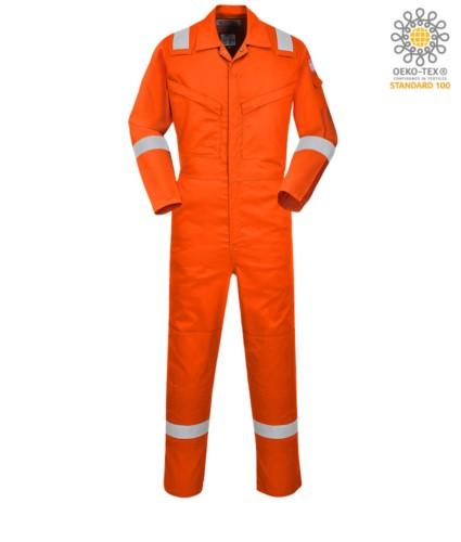 Antistatischer und feuerfester Lichtoverall, verstellbare Manschette, Ärmeltasche, Knietaschen, seitlicher Zugang, Maßtasche, Radioring, orange Farbe. CE zertifiziert, EN11611, EN1149-5, EN11612:2009
