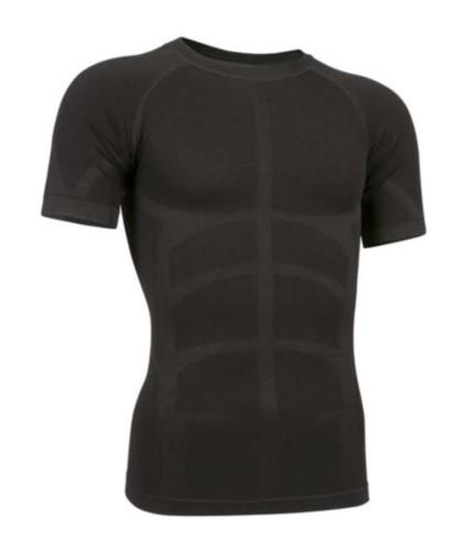 Zweites thermisches Kurzarm T-Shirt, Rundhalsausschnitt, atmungsaktiv, Farbe schwarz