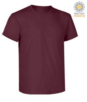 Kurzaermeliges Arbeits-T-Shirt, normale Passform, Rundhalsausschnitt, OEKO-TEX zertifiziert. Farbe  burgunderrot