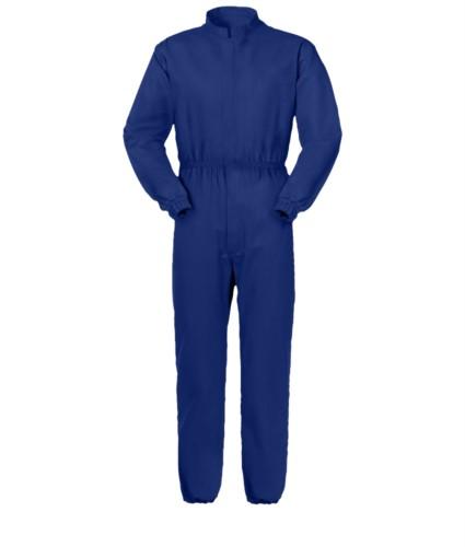 Anti Tangle Overall, verdeckter zentraler Reissverschluss, Stehkragen, Brusttasche mit Klettverschluss, blaue Farbe. UNI EN 510 und UNI EN 340: 04 Zertifikat
