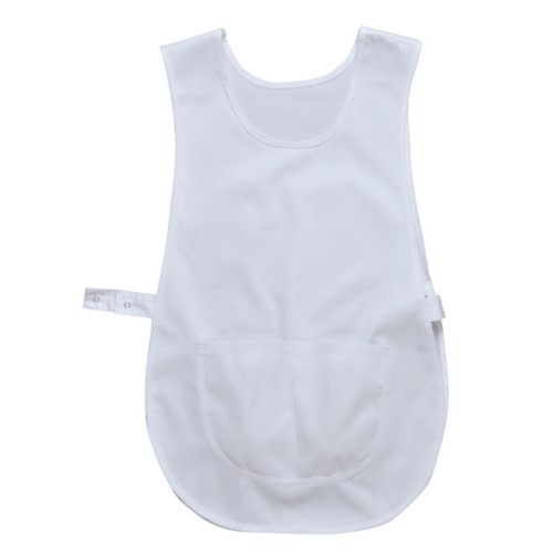 Umhang mit zentraler Tasche, seitliche Verstellung mit Druckknoepfen, Farbe weiss