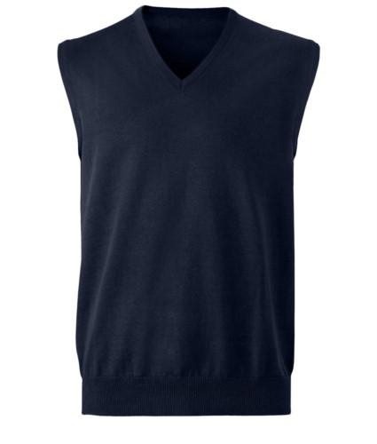 Unisex Weste mit V-Ausschnitt, klassischer Schnitt, Baumwolle und Acrylgewebe. Großhandel mit eleganten Arbeitsuniformen.  marine blue farbe