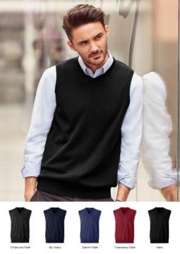 Unisex Weste mit V-Ausschnitt, klassischer Schnitt, Baumwolle und Acrylgewebe. Großhandel mit eleganten Arbeitsuniformen.