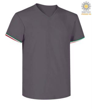 Kurzarm-T-Shirt, V-Ausschnitt, italienische Trikolore am unteren Aermel, Farbe dunkel grau