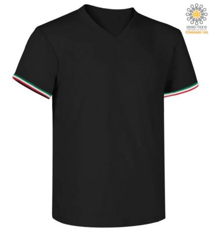 Kurzarm-T-Shirt, V-Ausschnitt, italienische Trikolore am unteren Aermel, Farbe marineblau