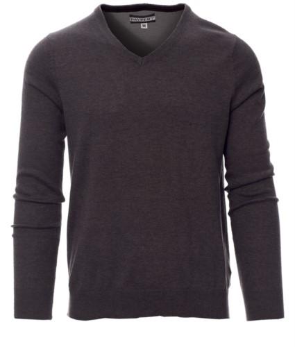 V-Ausschnitt Pullover mit gerippten Ärmeln und Taille, Farbe grau