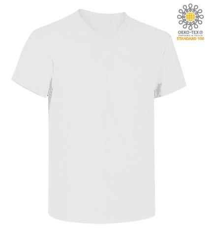 V-Ausschnitt Kurzarm-T-Shirt aus Baumwolle. Farbe weiss