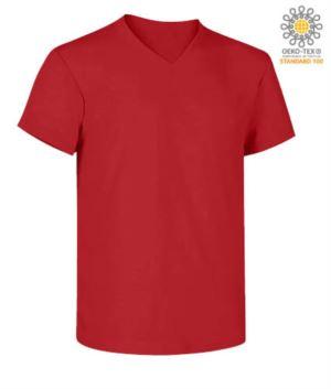 V-Ausschnitt Kurzarm-T-Shirt aus Baumwolle. Farbe rot