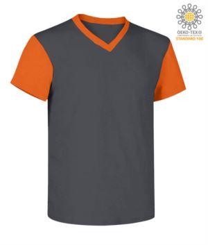V-Ausschnitt, zweifarbiges Arbeitshemd mit kontrastfarbenem Kragen und Aermeln. Farbe grau/orange