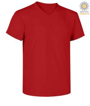 Kurzaermeliges T-Shirt mit V-Ausschnitt, Farbe rot
