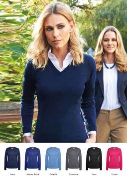 Damen V-Ausschnitt Pullover, lange Aermel, gerippter Hals und Aermelbündchen, Baumwolle und Acrylgewebe