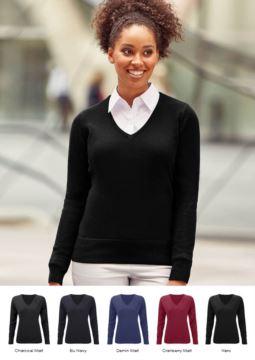 Damen V-Ausschnitt Pullover mit geripptem Ausschnitt und Manschetten, nahtlos, Baumwolle und Acrylgewebe