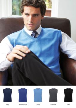 Herrenweste mit V-Ausschnitt, aermellos, Baumwolle und Acrylgewebe. Grosshandel mit eleganten Arbeitsuniformen.