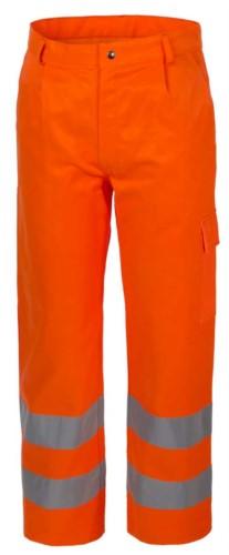 Warme Winterhose, Multi-Pocket, doppelt reflektierendes Band am unteren Ende des Beines, zertifiziert nach EN 20471, Farbe orange.