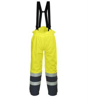 Antistatische, gut sichtbare, feuerfeste Hose, verstellbare Schultergurte mit Schnalle, Doppelband an der Unterseite des Beines, zweifarbig, zertifiziert nach EN 343:2008, UNI EN 20471:2013, EN 1149-5, EN 13034, UNI EN ISO 14116:2008, Farbe gelb/blau