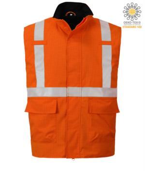 Multifunktionsweste, wasserdichtes Gewebe, Chemikalienschutz, antistatisch, reflektierendes Band, Farbe orange. CE zertifiziert, EN 1149-5, AS/NZS 4602.1 N/D, UNI EN 20471:2013, EN 13034, UNI EN ISO 14116:2008