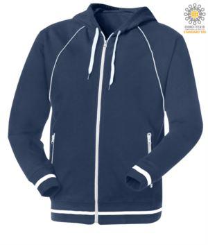 langes Reissverschluss Sweatshirt mit blauer Kapuze aus Polyester und Baumwolle