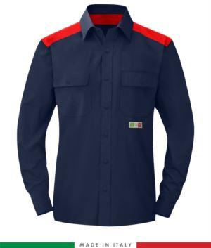 Zweifarbiges Mehrzweckhemd, Druckknopfverschluss, zwei Brusttaschen, farbige Einsätze an Schultern und Innenkragen, zertifiziert nach EN 1149-5, EN 13034, UNI EN ISO 14116:2008, Farbe marineblau/ rot