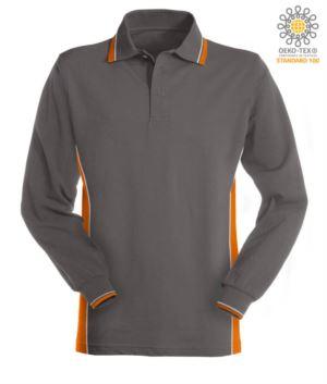 Zweifarbiges Langarm Polo, doppelte Paspel an Kragen, Manschetten und Seitenband. Farbe Grau/orange