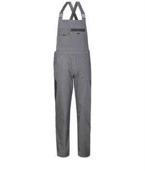 Zweifarbige Arbeitsoveralls mit kontrastfarbenen Einsätzen, zwei Brusttaschen.Farbe grau / scharz