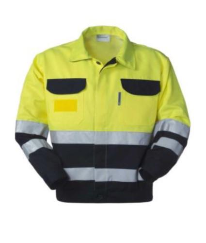 Warnschutzjacke mit Hemdkragen, Brusttaschen, Doppelband an Taille und Ärmeln, zertifiziert nach EN 20471, Farbe gelb/blau