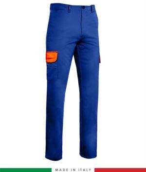 Zweifarbige Hose mit mehreren Taschen. Hergestellt in Italien. Moeglichkeit der kundenspezifischen Produktion. Farbe: Koenigsblau / Orange