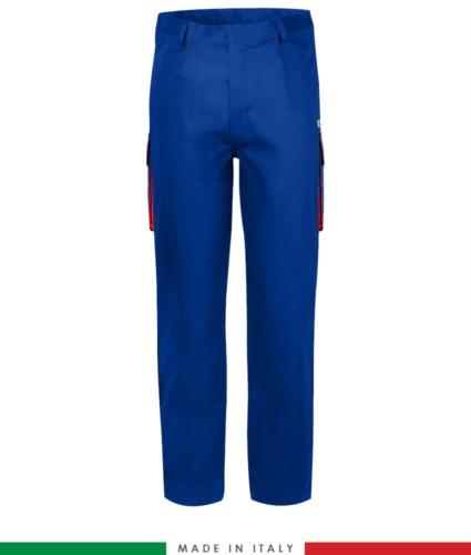 Zweifarbige Multipro Hose, mehrteilig, farbiges Profil an den Taschen, Made in Italy, zertifiziert nach EN 11611, EN 1149-5, EN 13034, CEI EN 61482-1-2:2008, EN 11612:2009, Farbe koenigsblau und rot