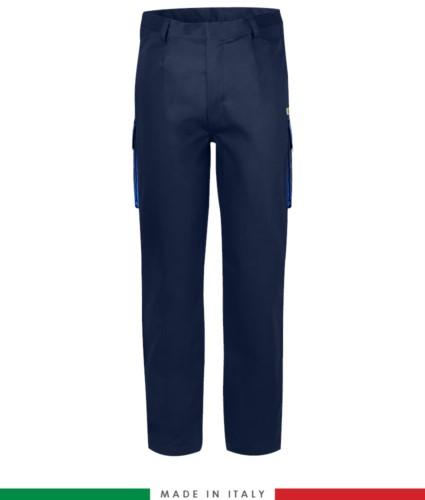 Zweifarbige Multipro Hose, mehrteilig, farbiges Profil an den Taschen, Made in Italy, zertifiziert nach EN 11611, EN 1149-5, EN 13034, CEI EN 61482-1-2:2008, EN 11612:2009, Farbe marineblau und koenigsblau
