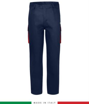 Zweifarbige Multipro Hose, mehrteilig, farbiges Profil an den Taschen, Made in Italy, zertifiziert nach EN 11611, EN 1149-5, EN 13034, CEI EN 61482-1-2:2008, EN 11612:2009, Farbe  marineblau und rot