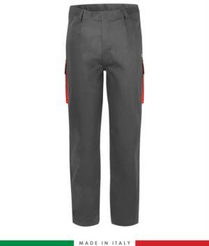 Zweifarbige Multipro Hose, mehrteilig, farbiges Profil an den Taschen, Made in Italy, zertifiziert nach EN 11611, EN 1149-5, EN 13034, CEI EN 61482-1-2:2008, EN 11612:2009, Farbe  garu und rot