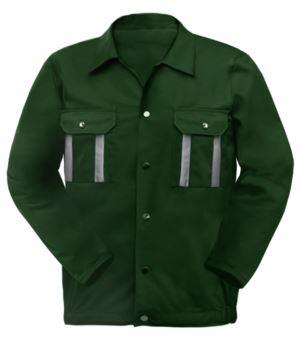 Zweifarbige Mehrtaschen Arbeitsjacke mit reflektierender Paspel an Schultern und Aermeln. Farbe gruen