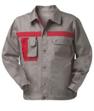 Zweifarbige Mehrtaschen Arbeitsjacke mit Handytasche. Farbe Grau/Rot