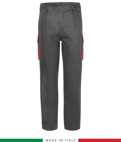 Zweifarbige Multipro Hose, mehrteilig, farbiges Profil an den Taschen, Made in Italy, zertifiziert nach EN 11611, EN 1149-5, EN 13034, CEI EN 61482-1-2:2008, EN 11612:2009, Farbe grau und rot