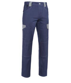Zweifarbige Arbeitshose mit mehreren Taschen aus nicht schrumpfbarer Baumwolle mit kontrastierenden Details und Naehten. Farbe Blau und Grau