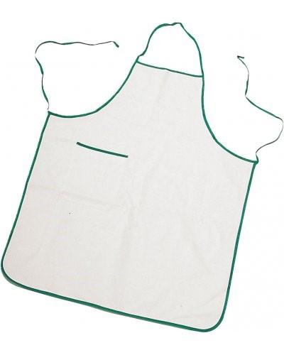 Zweifarbige Schuerze mit Tasche, Rand und Seiten mit kontrastierenden Spitzen, aufgesetzte Tasche auf der rechten Seite, mit kontrastfarbenem Rand, Naehte mit Faden, Farbe weiss, gruener Rand