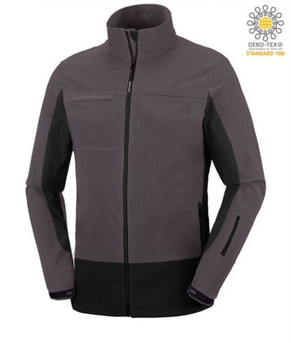 Zweifarbige, wasserdichte Softshell Jacke mit verdeckter Kapuze.Farbe: hellgrau und schwarz