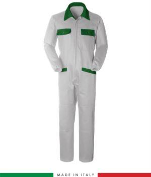 Zweifarbiger Overall, Hemdkragen,mittig verdeckter Reissverschluss, elastische Taille. Moeglichkeit der personalisierten Produktion. Hergestellt in Italien. Farbe weiss/hellgruen