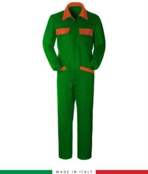 Zweifarbiger Overall, Hemdkragen,mittig verdeckter Reissverschluss, elastische Taille. Moeglichkeit der personalisierten Produktion. Hergestellt in Italien. Farbe Hellblau/orange