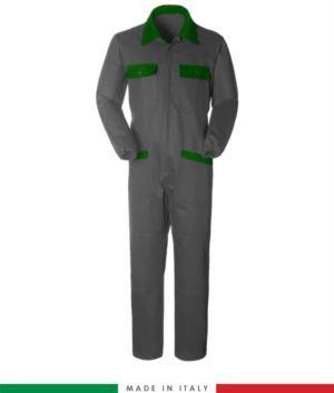 Zweifarbiger Overall, Hemdkragen,mittig verdeckter Reissverschluss, elastische Taille. Moeglichkeit der personalisierten Produktion. Hergestellt in Italien. Farbe grau/hellgruen